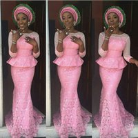 art blouse - 2016 african prom dresses women latest fashion outfits stunning in pink lace peplum blouse and fish tail skirt