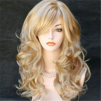 big bangs hair - Lady Womens Fashion Sexy Long wavy curly Blonde wig big wave wig with bangs Party Hair Wigs Full Wigs