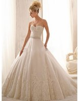 Wholesale Vintage Wedding Dress White Lace Strapless Dress