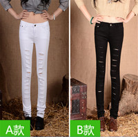 Wholesale hole in nine points jeans Hot Fashion Ladies Female Cotton Denim Ripped Punk Cut out Women Sexy Skinny pants Jeans Leggings Trousers