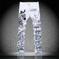 american paint horse - New Arrival European and American style Mens Printing Jeans Flower Horse Painting Graffiti Elastic Cotton Denim Slim Pants White