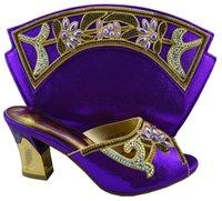 Cheap Elegant purple New arrival classical design african ladies shoes Matching nice handbag 1308-L60