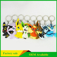 Wholesale NEW pocket monster keychains cartoon character Key Rings double side PVC material Poke Mon Pendants Keychain multiple designs