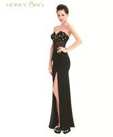 art honey - Honey Qiao Black Mermaid Evening Dresses Long Side Split Strapless White Cheap Formal Special Occassion Gowns Vestido De Festa