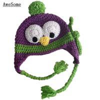 baby penguin photos - Novelty Purple Penguin Hat Handmade Knit Crochet Baby Boys Girls Animal Hat Child Earflap Winter Hat Toddler Infant Photo Prop