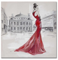 Wholesale price hot sale handpainted oil painting Red dressing lady Painting Art on canvas