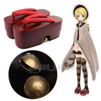 Wholesale Japanese Senbonzakura Kagamine Rin Geisha Red High Heel Geta Clog Kimono Cosplay