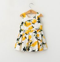 korean fashion clothing - Childrens Summer Fashion A line Dress Two Colors Girls Sleeveless Lemon Printed Elegant Sundress Kids Korean Style Clothes KB359