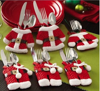 Wholesale 2pcs Christmas Table Decorations Knife Fork Tablespoons Tableware Sets Small Red Clothes Trousers Tableware Sleeve Xmas New Year Gifts