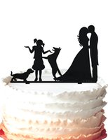 Wholesale dog cake topper Bride and Groom kissing one girl with two dogs cake topper many color for your option