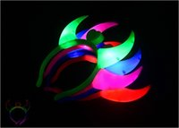 Wholesale Glowing Horn Lighting Glow Devil Hair Bands Cosplay Halloween Xmas EAR Costume Red LED Light Ladies Devil Horns Headband