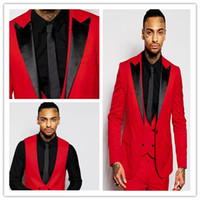 Wholesale Fashion Red Mens Suits Black Peaked Lapel Three Pieces Groom Tuxedos Custom Made Slim Fit Groomsmen Wedding Suits Jacket Pants Vest Tie