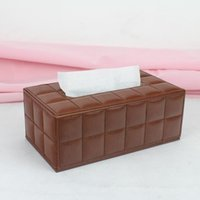 bamboo extract - fashion modern rectangle leather extracted removable tissue box napkin holder case stitch plaid brown D