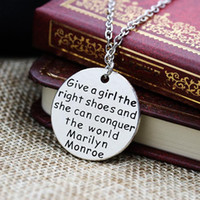 american vintage shoes - Retro Vintage necklaces English Letters Round Tag Chain Necklace Copper Silver give the girl right shoes and she will conquer world Marylin
