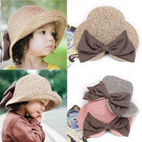 big japanese girl - Summer new children s hats Japanese big bow split visor hat Holiday sun hat Parent child straw hat
