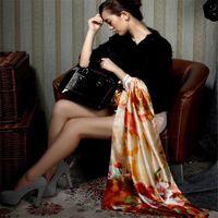 beautiful female paintings - 2016 Classical Women Beautiful Flower Print Oil Painting Long Silk Scarf Fashion Female Shawl Spring Summer Bohemia Scarves J035