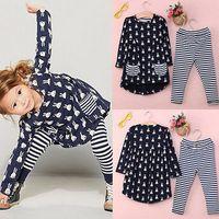 Wholesale Child Tutu Leggings - New Girls Clothes Fashion Cute Kids Cartoon Rabbit Print Pocket Dress and Striped Leggings 2pcs Children Set