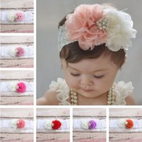 Wholesale 15 colors Children s hair accessories Headbands With gauze flowers lace pearl hair with Baby Flowers Chiffon combination hair Hair Sticks