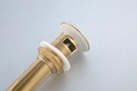 Wholesale bathroom sink accessory wash faucet drain pop up drainer vessel basin sink overflow golden plate brass push down drain