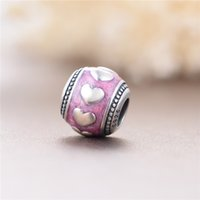 antique fuse - Pink Enamel Round Beads Witth Small Love Heart Silver Jewelry Beads Fit For European Style Antique DIY Big Hole Jewelry T178