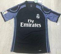 venda por atacado camisa do homem de fábrica-Versão jogador do Real Madrid jerseys 3ª futebol pretas 2016 17 direto da fábrica de camisas dos homens por atacado de formação kits de futebol adultos