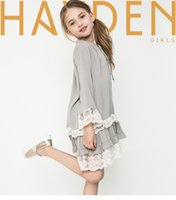 big clothes brands - 2016 Autumn New children dress Girls loose lace falbala long sleeve dress kids bows cotton lace falbala dress big girls clothing T A9335