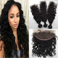 Wholesale Lace Frontal Closure x6 With Bundles Peruvian Virgin Human Hair Bundles with Lace Frontal Pc Lace Frontal and Bundles Water Wave Hair