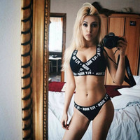 Wholesale Brand New women s Gather vest shorts two piece Sports suit black underwear set sexy beachwear Sports bikini Thong corset
