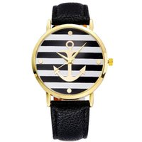anchor watch - 4 Colors New Fashion Leather Strap Anchor Geneva Watches Casual Women Wristwatch Luxury Brand Quartz Watch Gift