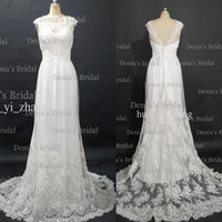 Wholesale 2013 Vintage Wedding Dresses With Sheer Cap Sleeves Transparent Neckline and Lace Sweep Train Buy Get Free Tiara