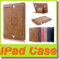 apple ipad khaki - IPAD Mini Real Genuine Leather Case High Quality Comfortable Hand Feeling Ipad Air Flip Stand Shell Cover Simple Noble Design Solid Color