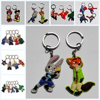 avenger accessories - 50pcs Mickey Minnie Zootopia inside out Avenger Keychains Keyrings Accessories Pendants charms For Bags Kids party gifts Toys