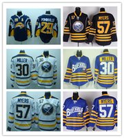 blue buffalo - Stitched NHL Buffalo Sabres TYLER MYERS Ryan Mille Jason Pominville Dark BLue Light BLue White Ice Hockey Jersey Mix Order