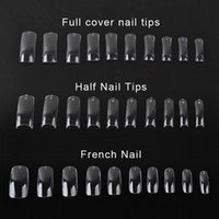 Wholesale 500 Clear False Nail Acrylic UV Gel Half French Transparent Nail Tips For Women Nail Art Beauty Tools