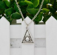 ancient china pyramids - Hot New Ancient Silver Pyramid Eye Charm Pendant Statement Necklace Short Neck Chain Best Friends Festival Gift A031