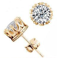 Fashion Crown 18k Boucles d'oreilles en argent plaqué or Femmes Brincos De Prata Hommes CZ Diamant 925 Silver Crystal Jewerly Double Stud Earing