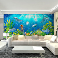 art deco moulding - 3D Underwater World Mural Art Deco interior non woven wallpaper dolphins and mermaids large children s bedroom TV backdrop wall art free sh