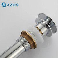 Wholesale Bathroom Sink Drainer Brass Push Dwon Pop up Chrome Polished Overflow Hole Basin Parts Faucet Accessories PJXSQ001C Y