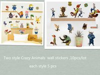 abstract style free - Mixed Crazy Animal Wall Stickers on children s room bedroom Home Decor Decals cartoon Funny Wallpaper