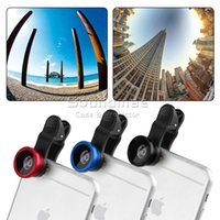 Wholesale Len Clip Eye - 3 in 1 Fish Eye Len Universal Clip Mobile Phone Lens for iPhone Samsung Galaxy HTC Fish Eye Macro Wide Angle with retailpackage