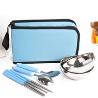Wholesale Portable cutlery six sets of two pairs of two bowls two pairs of chopsticks a spoon portable bag