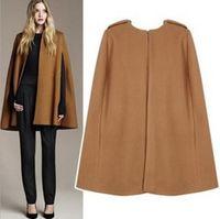 achat en gros de veste swing noir-Gorgeous Black Camel WOOL Cachemire Cloak Cape Veste Mod MILITARY Swing Manteau Minimaliste Sans Manche