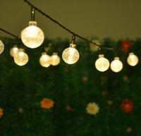 Wholesale 10 Pieces Led Solar Powered Outdoor String Lights M LEDs Crystal Ball Globe Fairy Strip Lights For Outside Patio Party Christmas