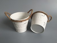 antique planter - 20Pcs cheap Herbs Planters Zinc pot Rustic Planters with rope Rustic Nursery Pot antique white