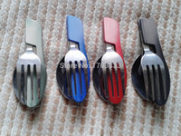 Wholesale Camping Cutlery Flatware Sets Combination Knife Fork Spoon Opener For outdoor Color