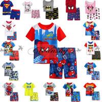 batman sleepwear - Lovely Cartoon Summer Set Superman Short Sleeve Pajama Set Baby Boys Superman Pajamas Batman Sleepwear Children Kids Short Clothing Set M266