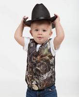 Wholesale 2016 Cute Camo boys formal Vest suits V Neck Sleeveless Reeltree Print kids formal wear Wedding Party