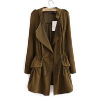 Wholesale Fashion Korean style Office elegant khaki drawstring Waist Long trench coat for women Casual brand windbreaker female