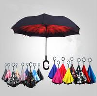 Wholesale Creative Inverted umbrella Sun Rain Long Handled Umbrella Reverse Windproof Umbrellas Shaped C handle enlarge reinforcement Paraguas OOA271