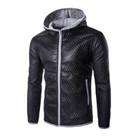 Wholesale Fall Leather Jackets Male Winter Fashion Long Sleeve Plaid Printed Hoody Coat Brand Motorcycle Casual Outwear Bomber Jacket PY41